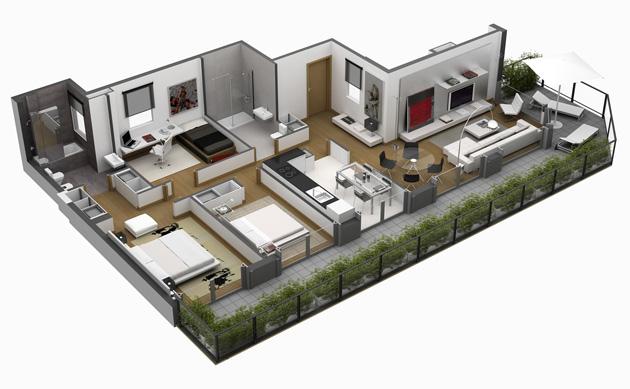 Casas de un piso y tres dormitorios planos y fachadas for Planos de casas norteamericanas