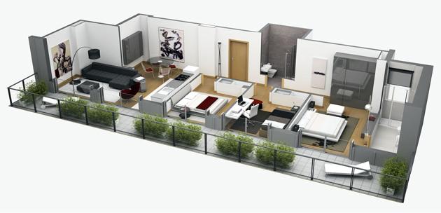 Ibaarreta promueve for Planos de casas de una planta en 3d